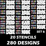 Custom Body Art Airbrush Nail Stencils - Design Series Set # 6 Includes 20 Individual Nail Templates with 14 Designs each for a total of 280 Designs of Series #6