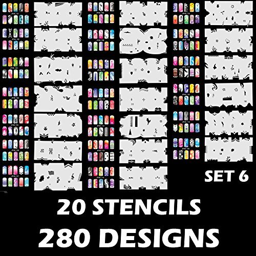 Custom Body Art Airbrush Nail Stencils - Design Series Set # 6 Includes 20 Individual Nail Templates with 14 Designs each for a total of 280 Designs of Series #6 by Custom Body Art