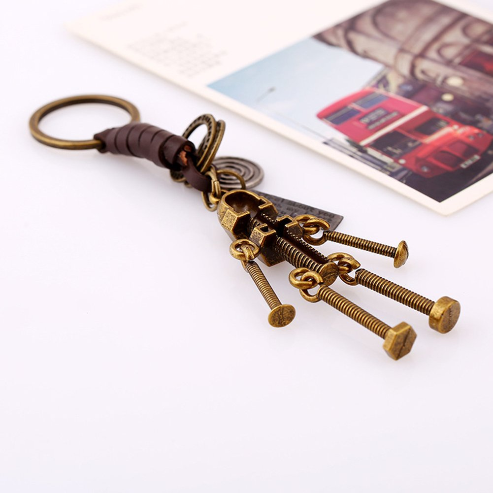 Gotoole Men Punk Style Keychain Bike Robot Deer Pendant Cow Leather Retro Bag Charm size Robot by Gotoole (Image #4)