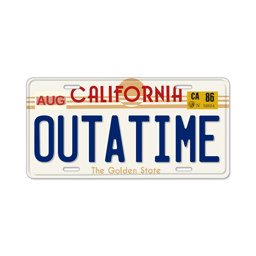 CafePress - Outatime Back To The Future Aluminum License Plate - Aluminum License Plate, Front License Plate, Vanity Tag