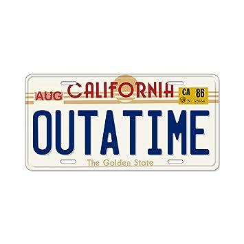CafePress - OUTATIME placa de licencia de regreso al futuro aluminio placa de licencia - matrícula de aluminio, parte frontal, mueble etiqueta por ...