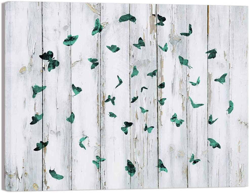 Visual Art Decor Creative Butterflies Cirle Retro Wood Background Canvas Wall Art Prints Framed and Stretched Ready to Hang for Home Office Living Room Wall Decoration