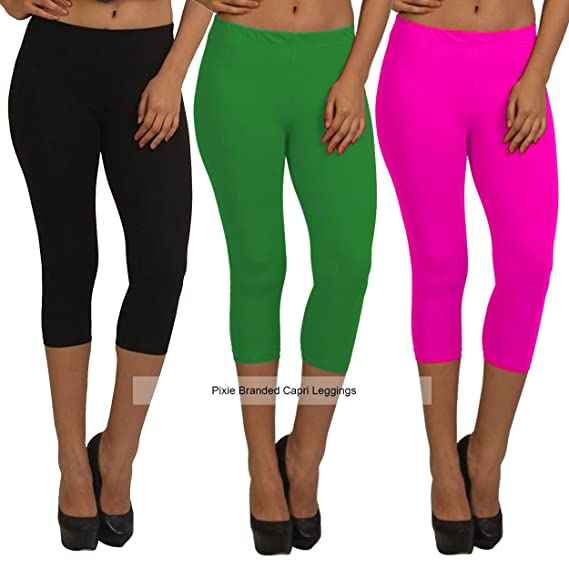 cea8e14ec6bbc5 Pixie Capri Leggings | 3/4th | Pants | Combo Pack of 3 for  Women/Girls/Ladies (Black, Dark Green and Baby Pink) - Free Size:  Amazon.in: Clothing & ...