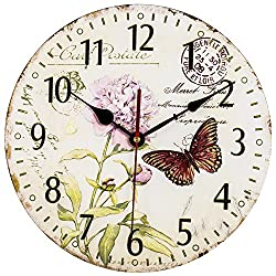 SkyNature Romantic Round Wooden Wall Clocks French Country Style Silent Non-Ticking for Lovers (12 Inch Butterfly and Flower)