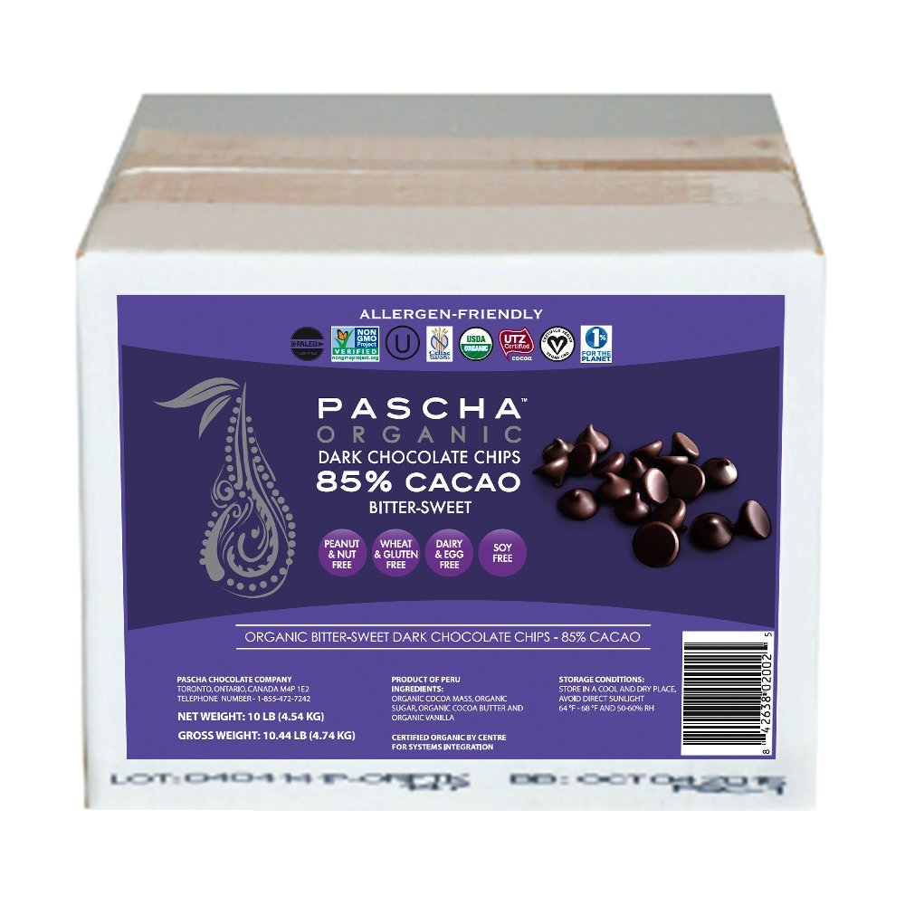 Pascha Bulk Organic Bitter Sweet Chocolate Chips 85% Cacao, 10 Pound