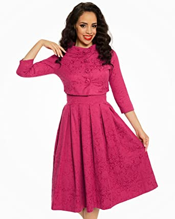a914554549f Lindy Bop  Marianne  Raspberry Swing Dress and Jacket Twin Set   Amazon.co.uk  Clothing