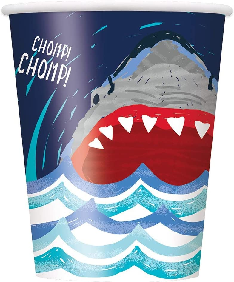 Unique Shark Chomp Chomp Party Paper Cups, 9 oz., 8 Ct., Multicolor (72536)