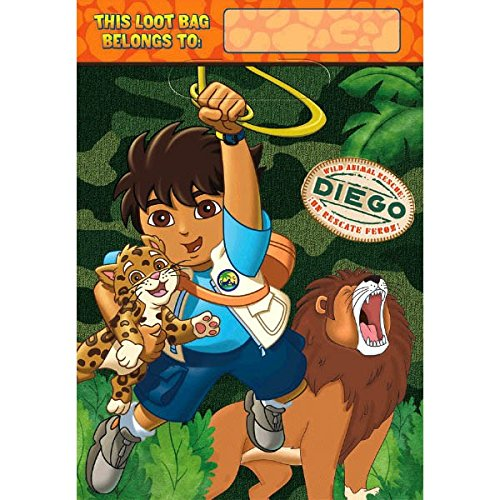 Go Diego Go Rescue Pack - Diego's Biggest Rescue Folded Plastic Loot Bags, Party Favor