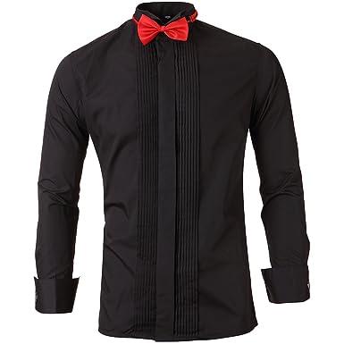 Camisa de Traje con Gemelos Hombre, Slim Fit, Cuello ópera, Camisa para Espectáculo/Fiesta/Boda/Negocio/Ceremonia, 3 Colores