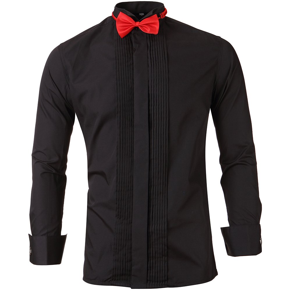 Mens Tuxedo Shirts Wing Collar Slim Fit Formal Shirts With French Cuffs And Bow Tie Black