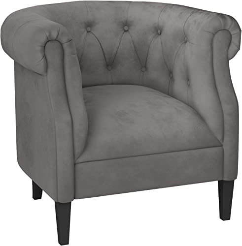 Ravenna Home Westcott Curved Tufted Rolled Arm Accent Chair, 34 W, Gray