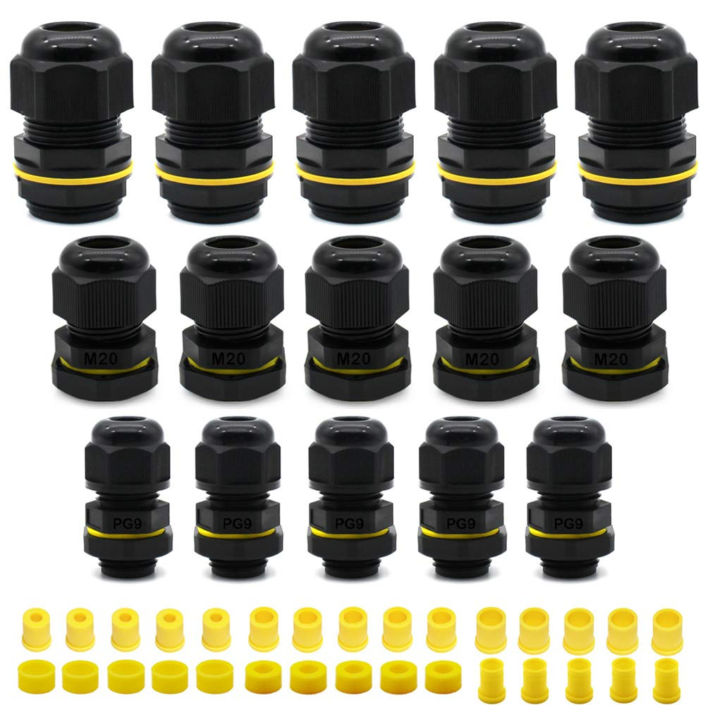 HUYU Waterproof IP68 Cable Glands Connectors M20 M25 PG9 for 4-14mm Cable Diameter Nylon Plastic Cable Gland Joints for Home//Garden//Outdoor Lighting 15 PCS Cable Glands