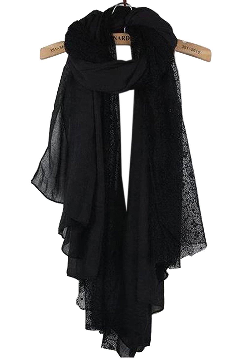 NOVAWO New Women Lady Ultra Long Gorgeous lace style Soft scarves shawl (Black)