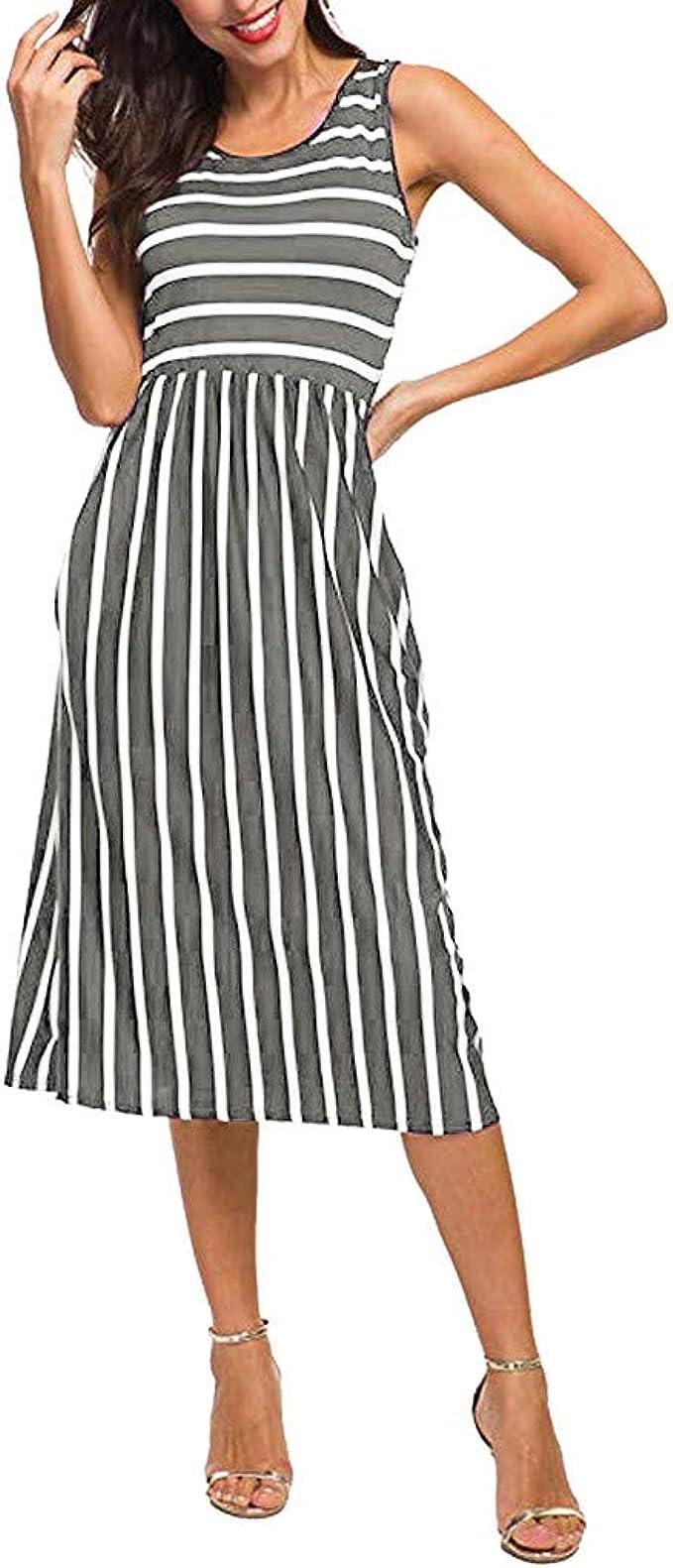 satiny Damenkleid Mode Gestreiftes Frauen Rundhals A-Linie