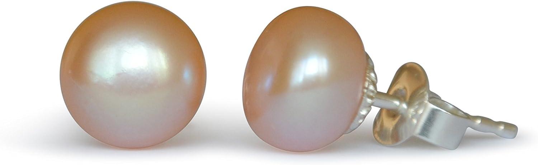Pendientes de perlas de freshwater, natural, rosado, 8-8.5mm, plata de ley 925