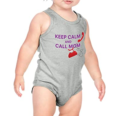 214110a16 Keep Calm and Call Mom Cotton Tank Scoop Neck Boys-Girls Infant Bodysuit  One Piece