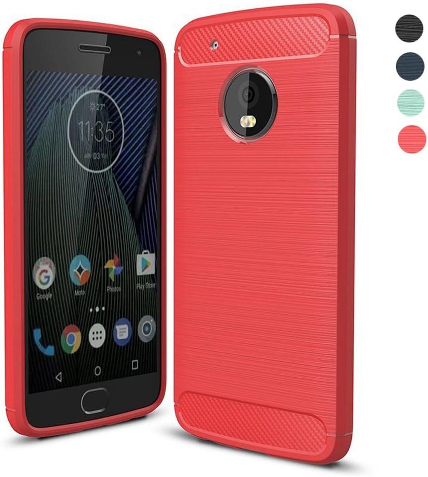 Funda Lenovo Moto G5 Plus, Amytech Negro Silicona Fundas para Motorola Moto G5 Plus Carcasa (5,2 Pulgadas) Fibra de Carbono Funda Case (Rojo): Amazon.es: Deportes y aire libre