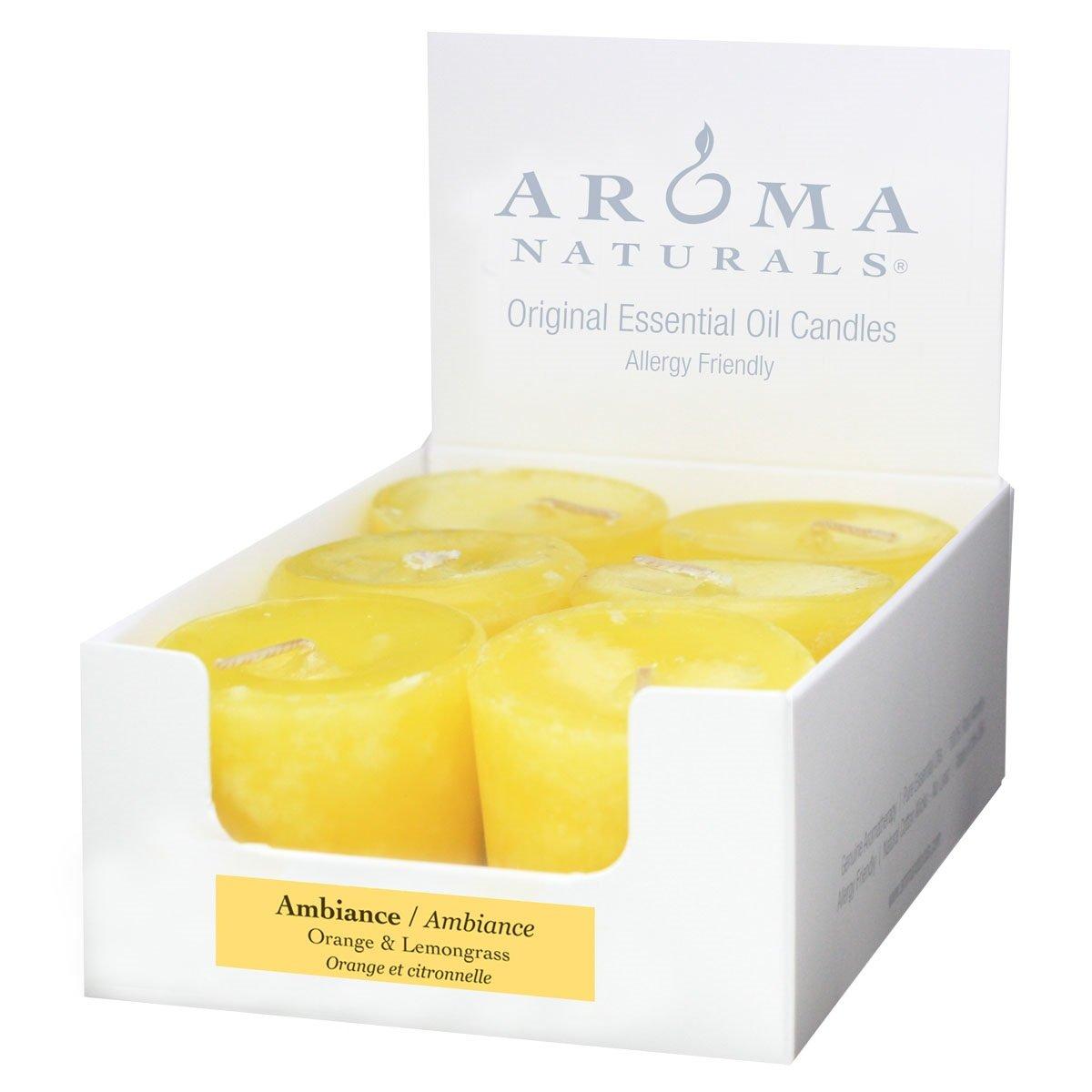 Aroma Naturals Ambiance Votive Candle, Yellow/Orange/Lemongrass, 6 Count
