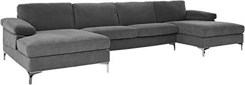 Casa AndreaMilano Modern Large Velvet Fabric U-Shape Sectional Sofa