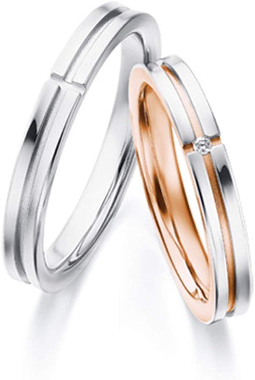 Epinki Anillo Oro Blanco 18k Simple Cruz Diamante 0.01ct Anillo de Compromiso