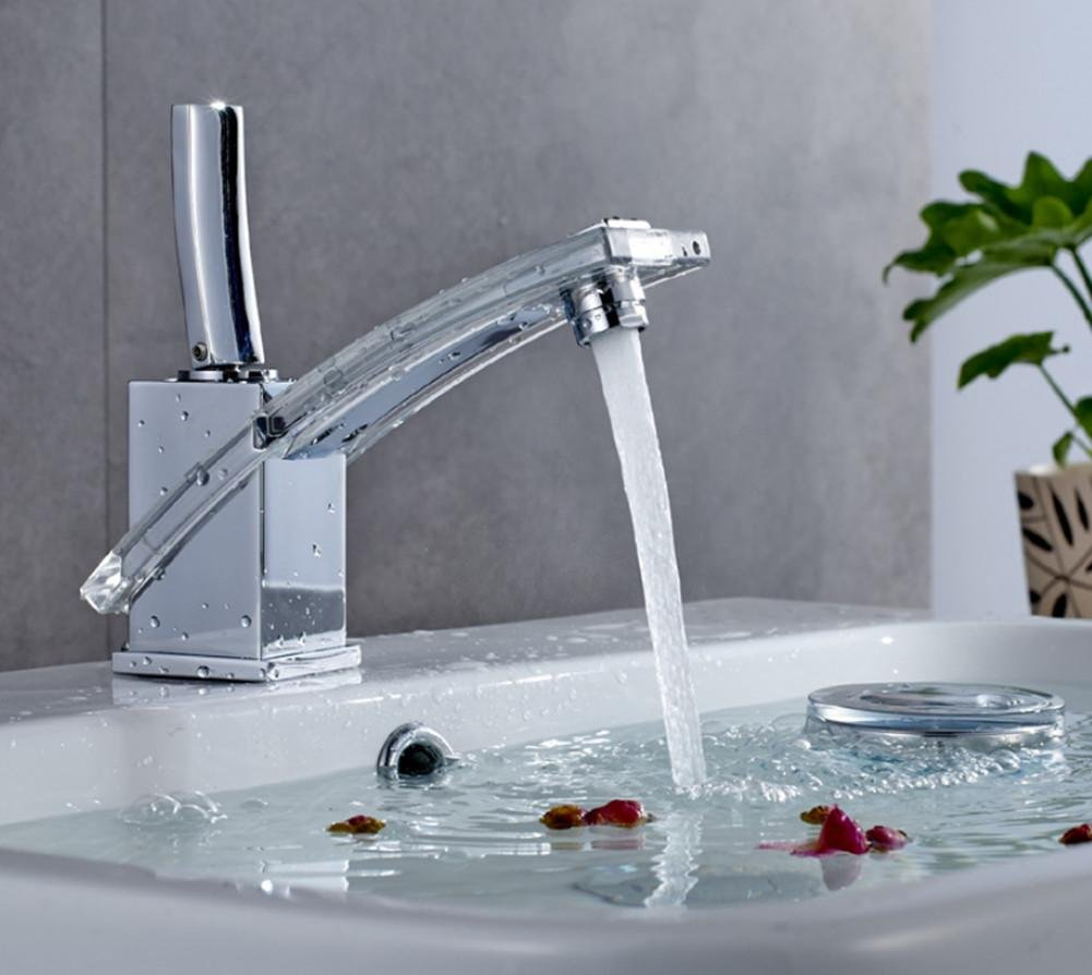 Glass Nickel-plated Basin Faucet Hot and Cold Copper Faucet