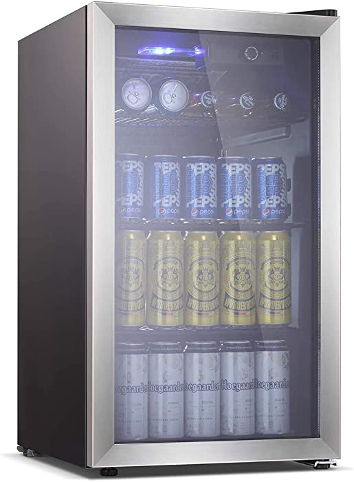 OKADA Beverage Refrigerator or Wine Cooler 90 Can or 26 Bottles with Glass Door for Beer, Soda or Wine Mini Fridge freestanding for Office, Home or Bar Drink Freezer for Party