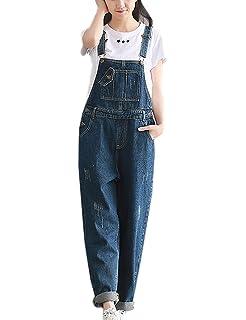 9f250636bef7 Amazon.com  Minghe Women Bib Overall Baggy Denim Jeans Cropped Harem ...