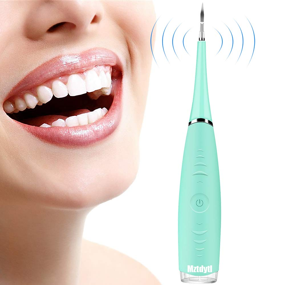 MZTDYTL Household Electric Dental Calculus Remover Rechargeable Scraper Plaque Tartar Remover Teeth Cleaning Tools for Oral Care - Green