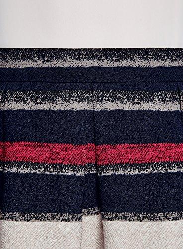oodji Ultra Mujer Falda Acampanada con Pliegues Suaves Azul (7920S)