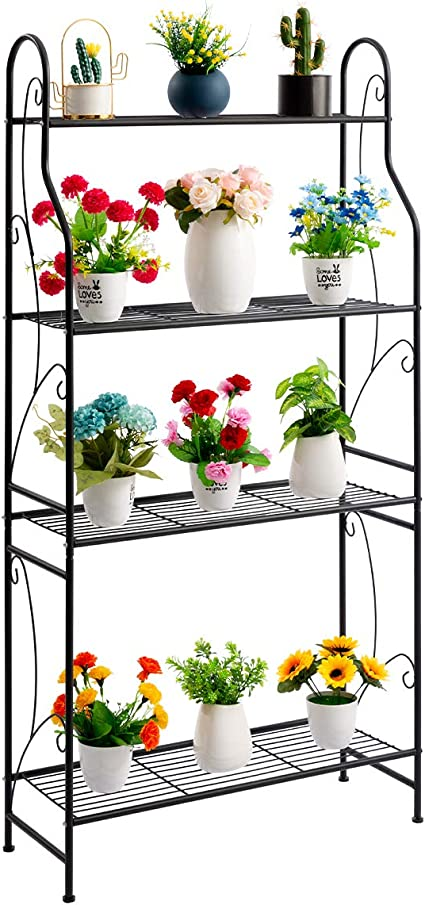 4 Tier Iron Flower Pot Holder Plant Stand Shelf Rack Planter Display Home Decor