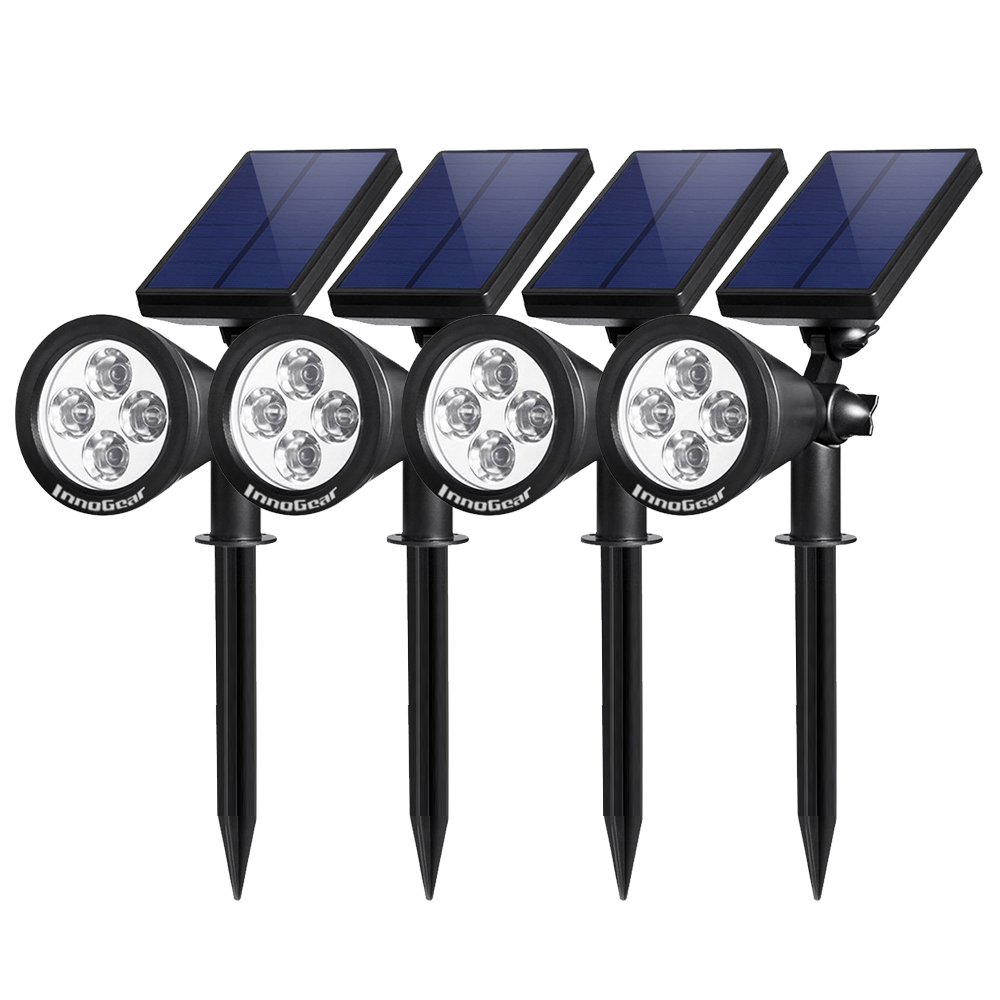InnoGear Upgraded Solar Lights 2 in 1 Waterproof Outdoor Landscape Lighting Spotlight Wall Light Auto On Off for Yard Garden Driveway Pathway Pool Pack of 4 White Light