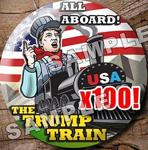100 Button Wholesale Bulk Rally Pack - All aboard The Trump Train - Campaign Buttons - Pins Badges 2.25 Inch Donald Trump 2020 - Reseller