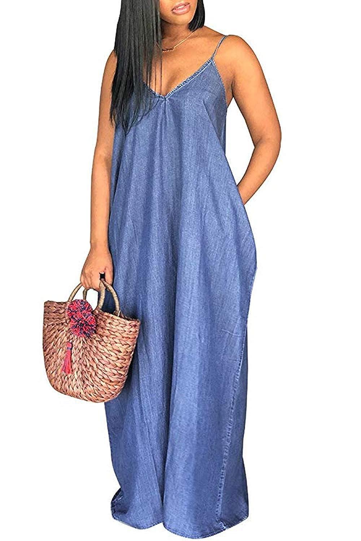 aca6910d6f81c Flovey Denim Maxi Dresses for Women,Casual Condole Belt Deep V Neck Loose  Dress with Pockets