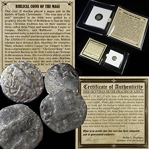 Biblical Coin - 35 GR YOU GET ONE SILVER Ancient BIBLICAL COIN OF THE MAGI Persian Roman Bible Greek Jesus 35BC-5AD in mini folder with Certificate of Authenticity drachm from Good to Very Fine