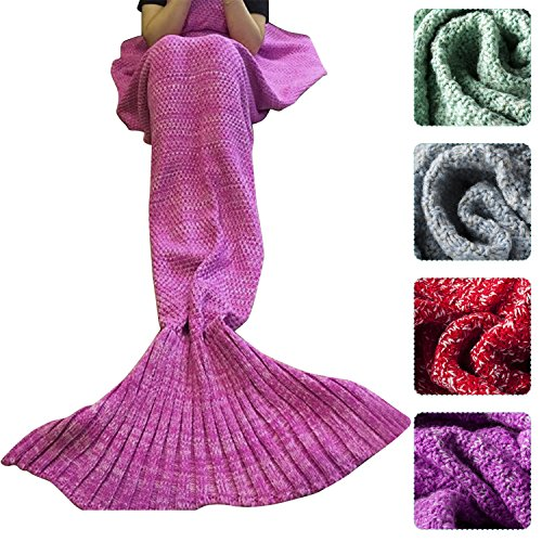 Outdepot Colorful White Knitted Mermaid Tail Blanket for Adult, All Seasons Sleeping Sofa Blankets Super Soft and Warm, Best Gift for Girl on Birthday or Christmas (Best Mermaid Costume)