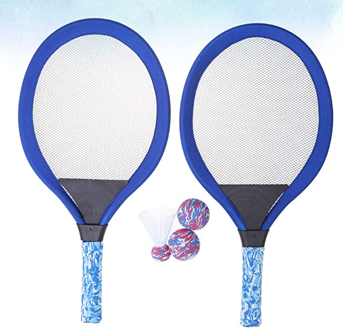 2 b/ádminton y 4 pelotas de repuesto ZOYJITU Set de b/ádminton para ni/ños raqueta de b/ádminton y juguete de b/ádminton con 2 raquetas