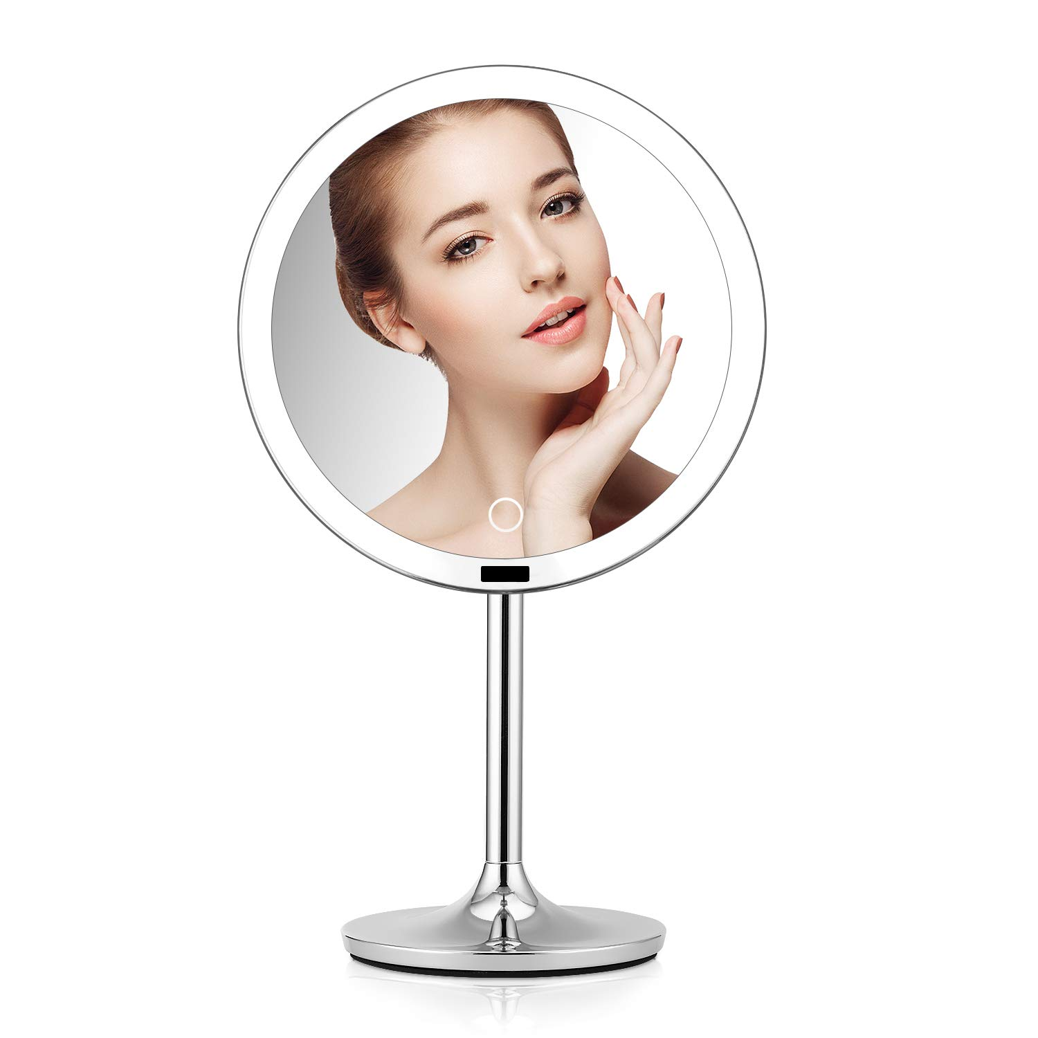 BRIGHTINWD 8.5'' Lighted Makeup Mirror with Sensor, Makeup Vanity Mirror with Lights, Brightness Control, Rechargeable and Cordless, Polished Chrome Finish