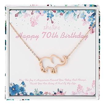 Regalo de 70 cumpleaños para mujer - Collar de elefante de ...