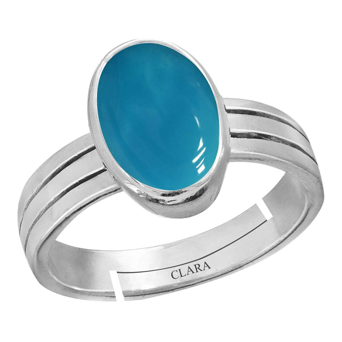 CLARA Certified Turquoise Firoza 5.5cts or 6.25ratti original stone Sterling Silver Astrological Ring for Men and Women