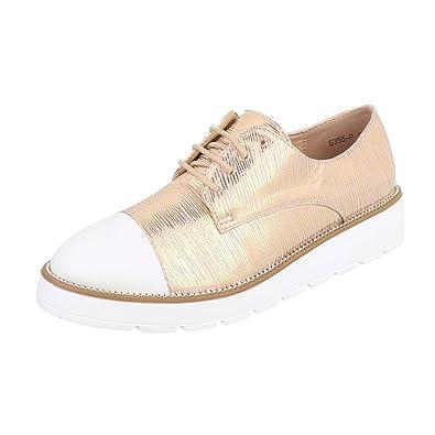Ital-Design - Zapatos Planos con Cordones Mujer , color dorado, talla 39 EU