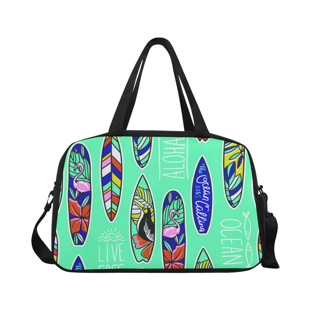 InterestPrint Summer Tropical Flamingo Duffel Bag Travel Tote Bag Handbag Luggage