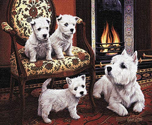 Pure Country Weavers West Highland White Terrier by Robert May   Woven Tapestry Wall Art Hanging   Terrier Family Posed at Fireside Oil Panting   100% Cotton USA Size -