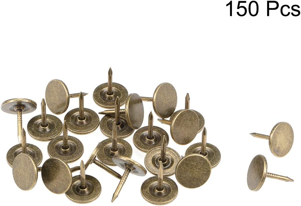 sourcing map Tapicer/ía U/ñas Tachuelas 11mmx13mm Cabeza plana Muebles U/ñas Tono bronce 150 piezas