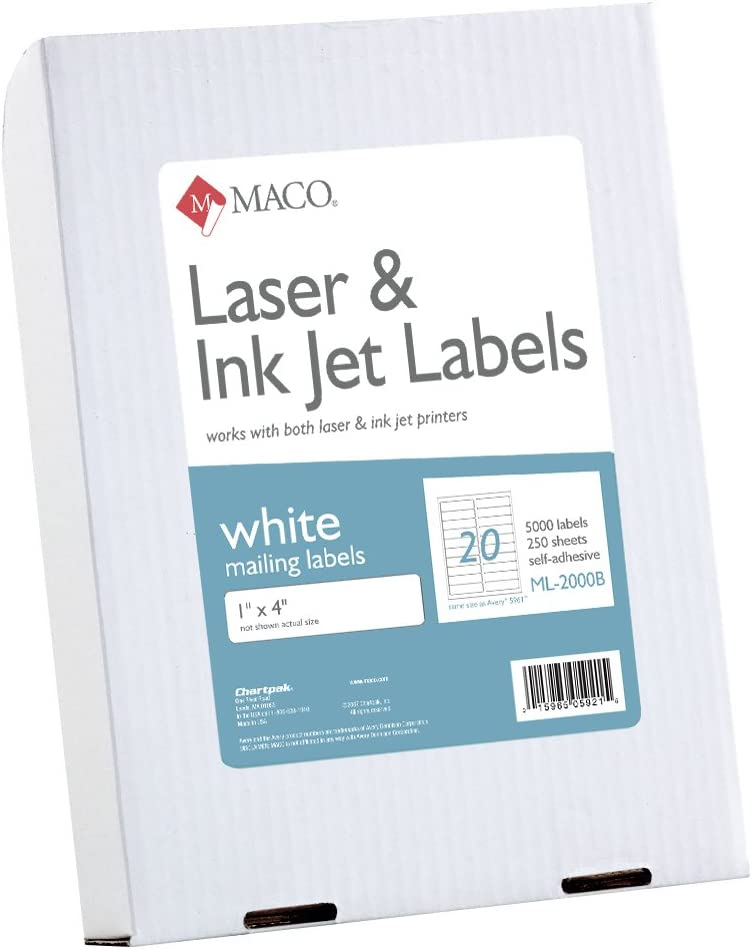 100 Sheets ML-3000 Maco Laser//Ink Jet White Address Labels 3000 Per Box 1 x 2-5//8 Inches