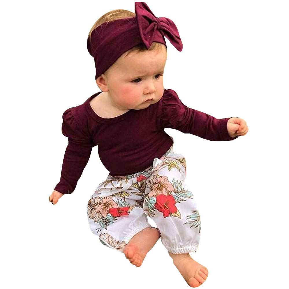 NUWFOR Newborn Infant Baby Girls T-Shirt Tops+Floral Pants Leggings 3PCS Outfits Set(Wine,0-6 Months