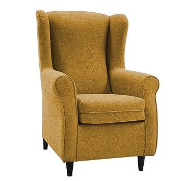HOGAR TAPIZADO Butaca sillón orejero Nadia Tapizado en Microfibra Water Repellent Medidas:100 x 72 x 74 (Mostaza)