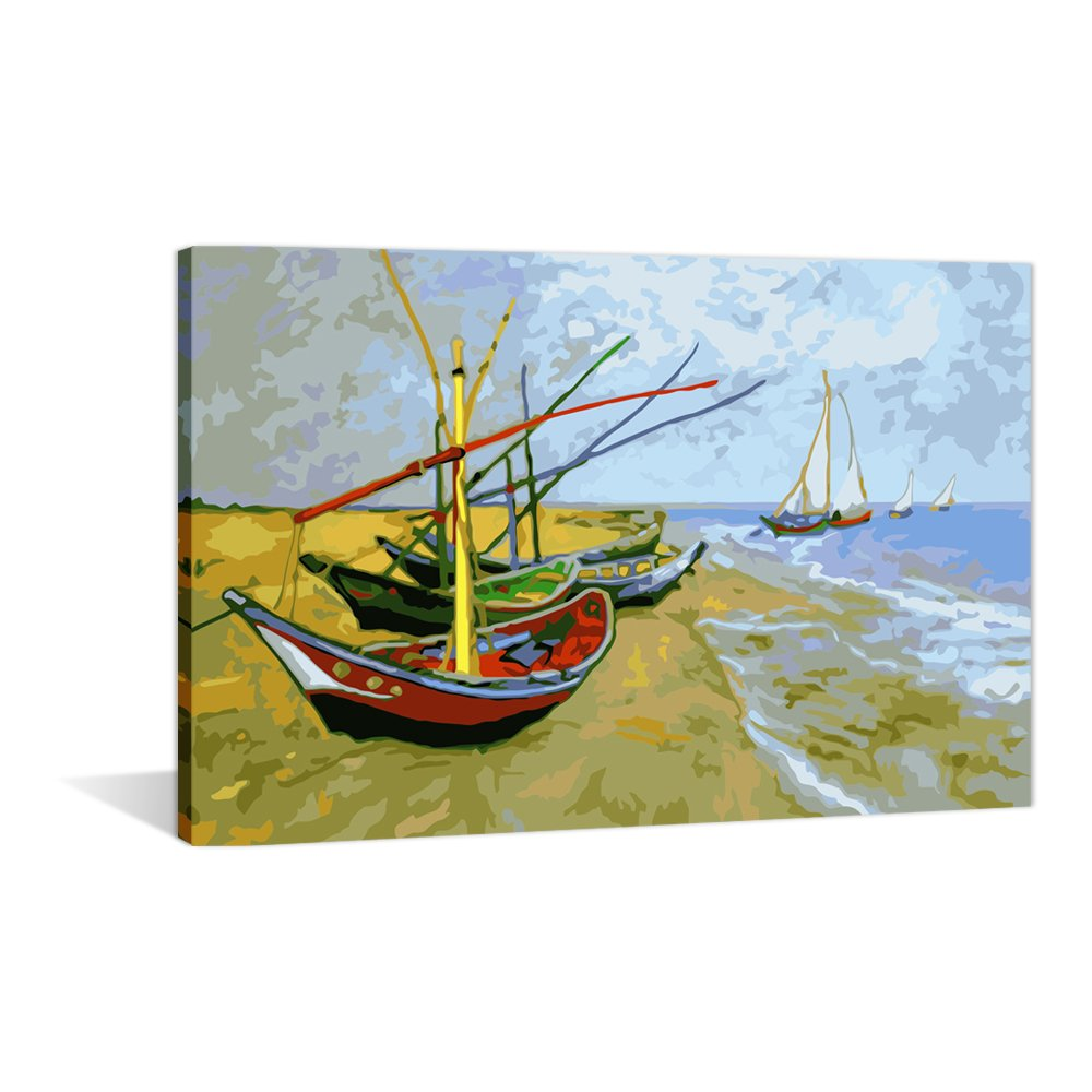 Paint by Numbers 16 x 20 inch Canvas Art Kit DIY Oil Painting for Kids//Students//Adults Beginner Monet Tea Tree Flowers