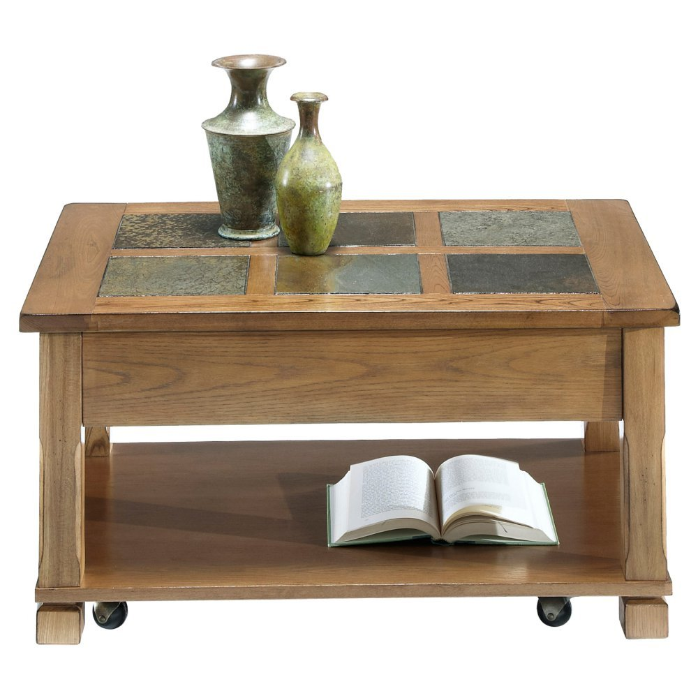 Amazon.com: Progressive Furniture Rustic Ridge Cocktail Table, Light Oak/ Slate: Kitchen U0026 Dining