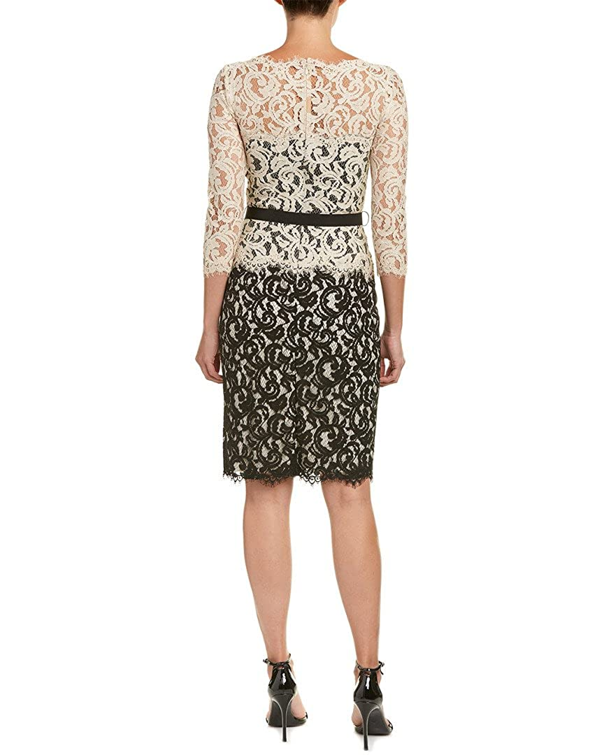 a9e5281c850ed Amazon.com: Tadashi Shoji Women's Two-Tone Lace Dress with Three-Quarter  Sleeves and Belt: Clothing