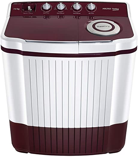 Voltas Beko 8 Kg Semi-Automatic Top Loading Washing Machine (WTT80DT, Burgundy)